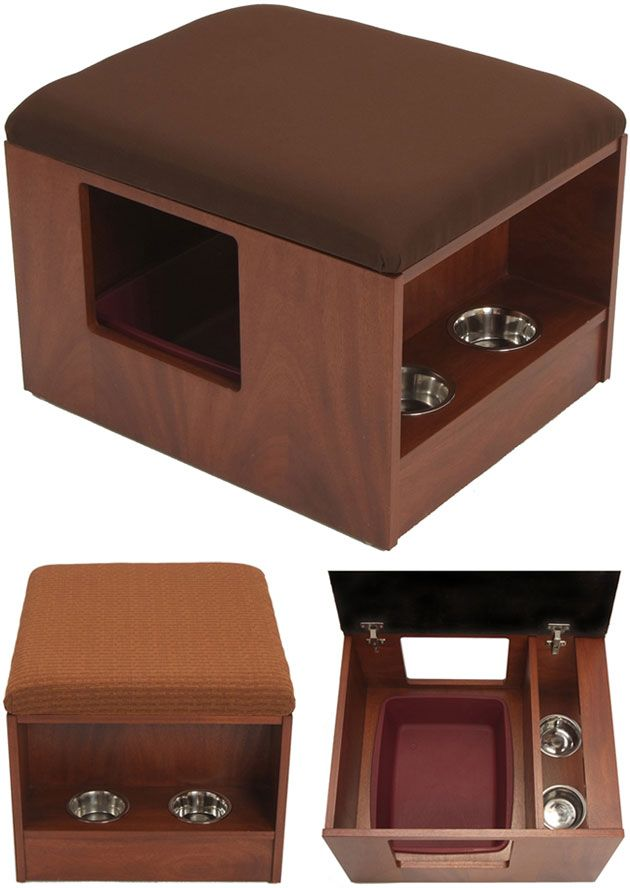 The Cat Quarters from Inspired Pet Designs is an all-inclusive design combining food and water bowls with a litter box enclosure and lounge pillow top. Adds style to any room, saves space and provides essential amenities for cats.