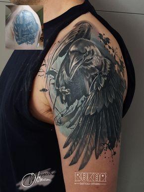 Cover Up Bukaa Tattoo Kruk Tatuaż Raven Tattoo Kruki