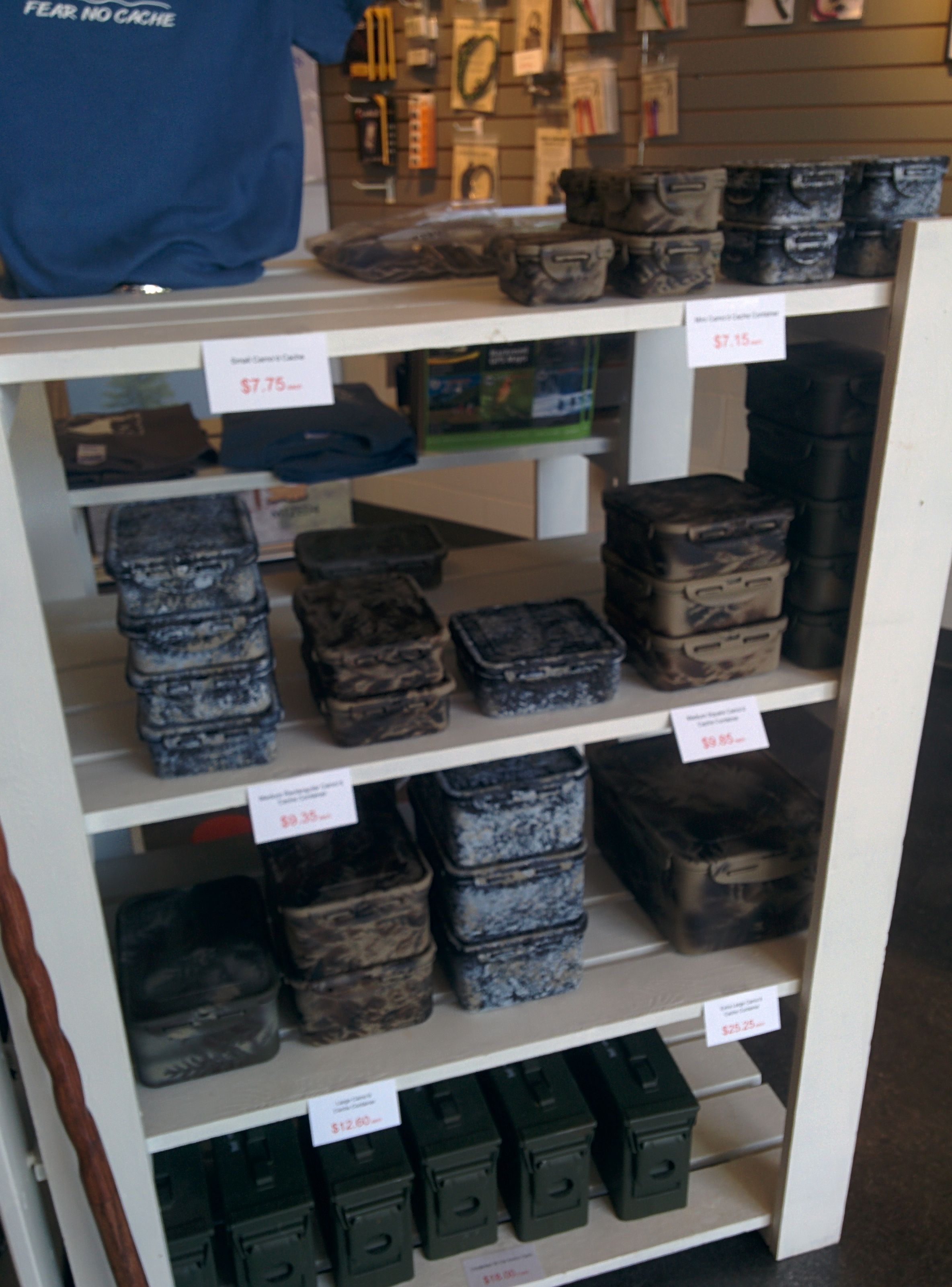 Geocaching Containers at the Sharkz Store in Esquimalt BC. These are the waterproof Lock n' Lock brand with our custom woodland, khaki or stone camo.