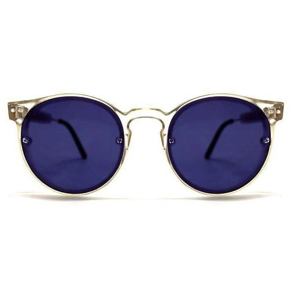 Spitfire Post Punk Clear/Blue Mirror Sunglasses (€43) ❤ liked on ...