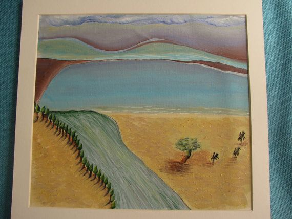 oil painting heavy texture riders in the desert 17x16 by cheerlart
