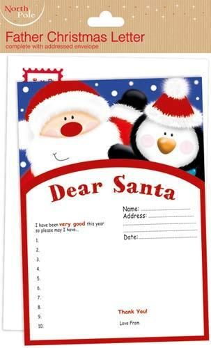 Dear Santa Letter  - Write to Father Christmas with Envelope - Kids - NEW  #Unbranded