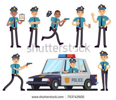 Stock Vector Cartoon Policewoman And Policeman Characters In Police Uniform Vector Set Police Officer Character Cop In Hat Police Uniforms Police Policeman