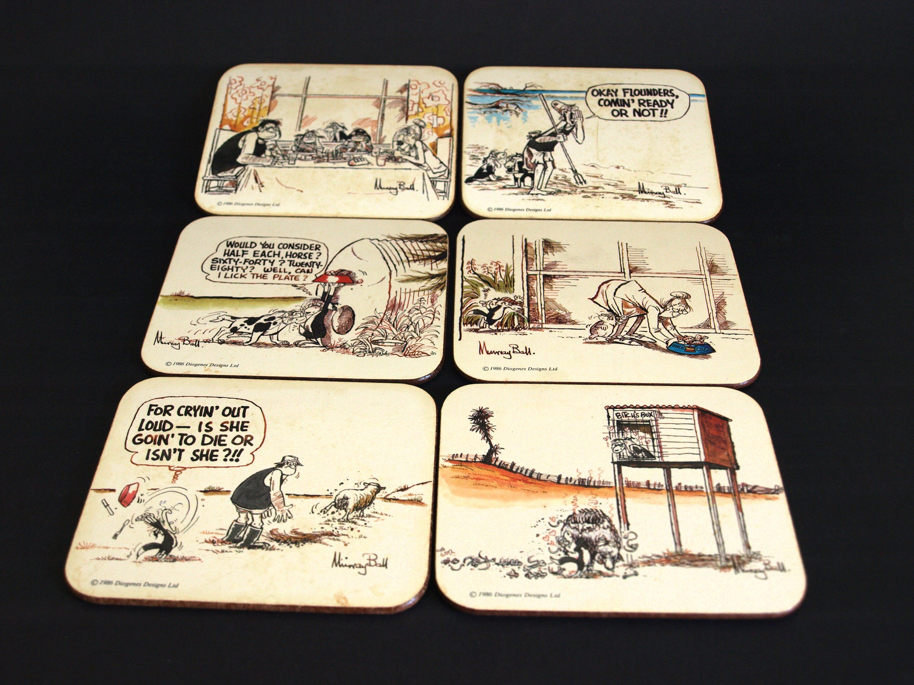 Footrot Flats Cork Coasters 1986 Vintage Comic Collectable Jason Set Of Six Drink Mats Made In New Zealand By Fu Footrot Flats Cork Coasters Vintage Comics
