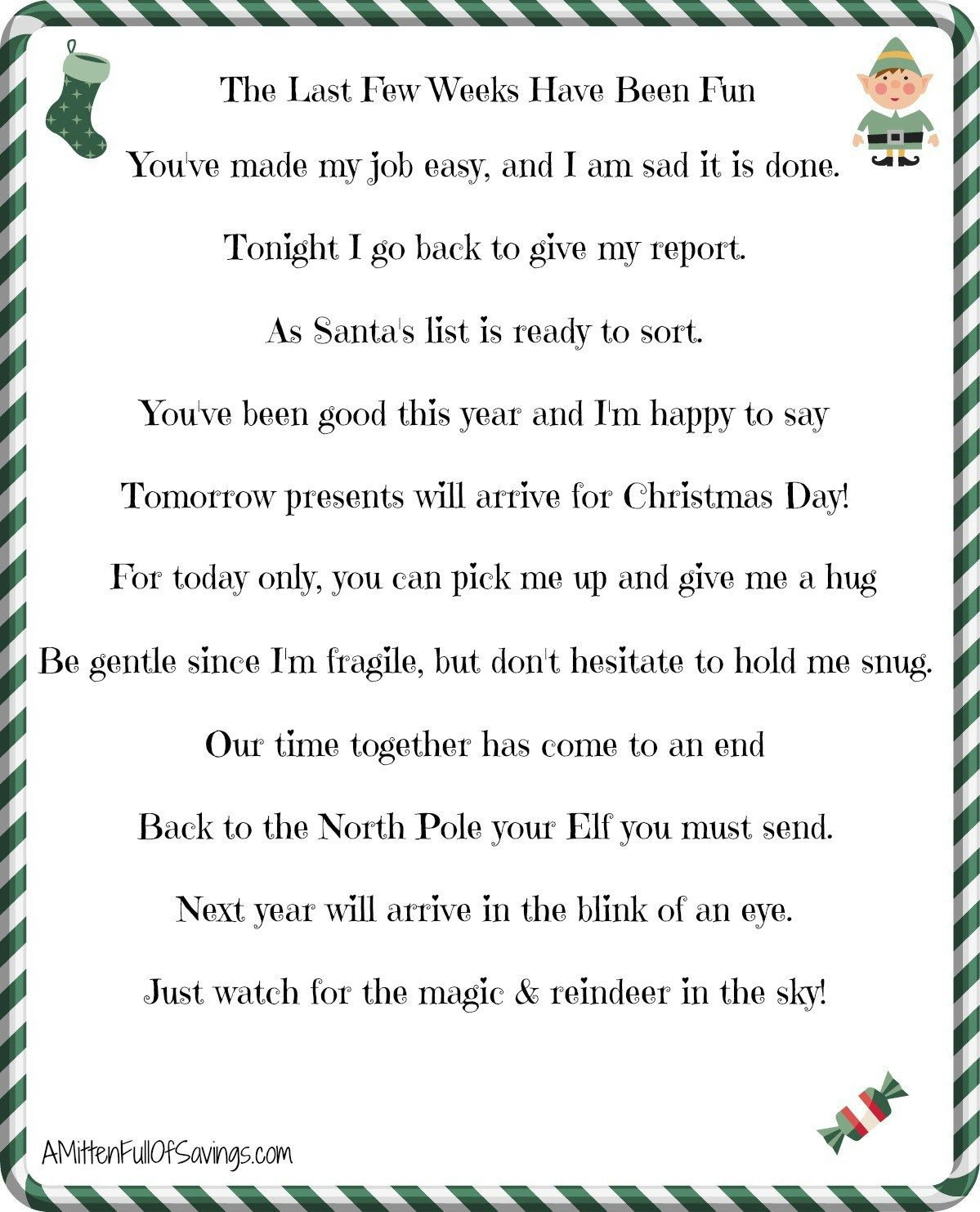 Printable Elf On The Shelf Goodbye Letter A Mitten Full