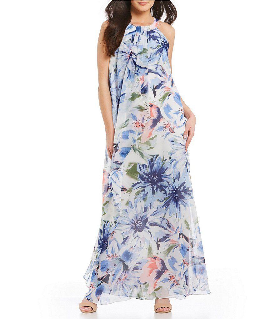 633c85c1c9 Leslie Fay Draped Halter Neck Floral Print Maxi Dress