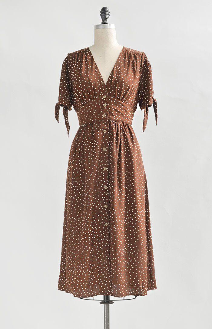 Vintage Inspired Dress / Feminine Polka Dot Midi Dress / Parker Dress 1