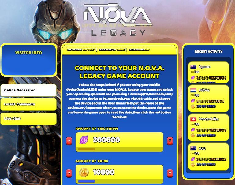 nova legacy online hack 2018