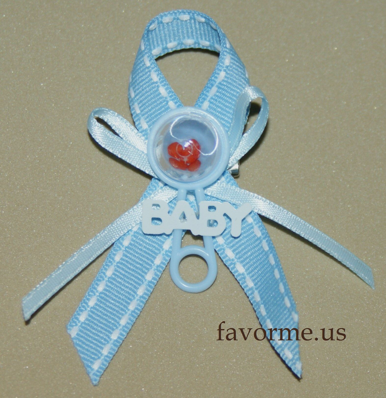 """10 Guest Pins Set of 12 Piece """"Rattle"""" Boy Baby Shower Guest Pin"""