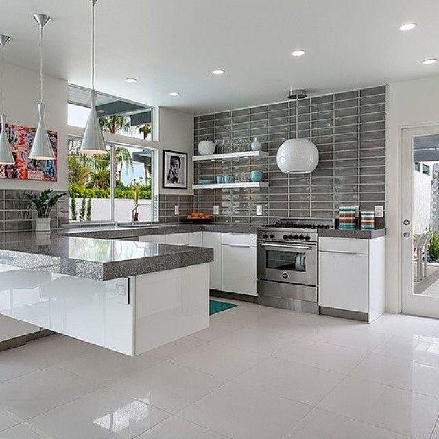 White Kitchen Grey Trip And Grey Splashback Wall Tiles Very