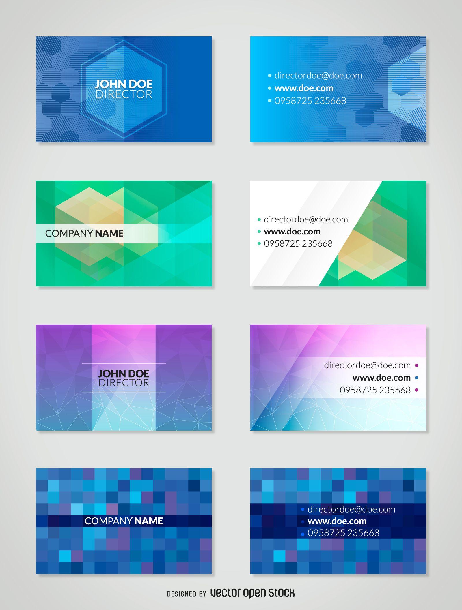 Polygonal business card template set | pure creative | Pinterest ...