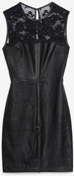 Robert Rodriguez Black Leatherlace Sheath Dress