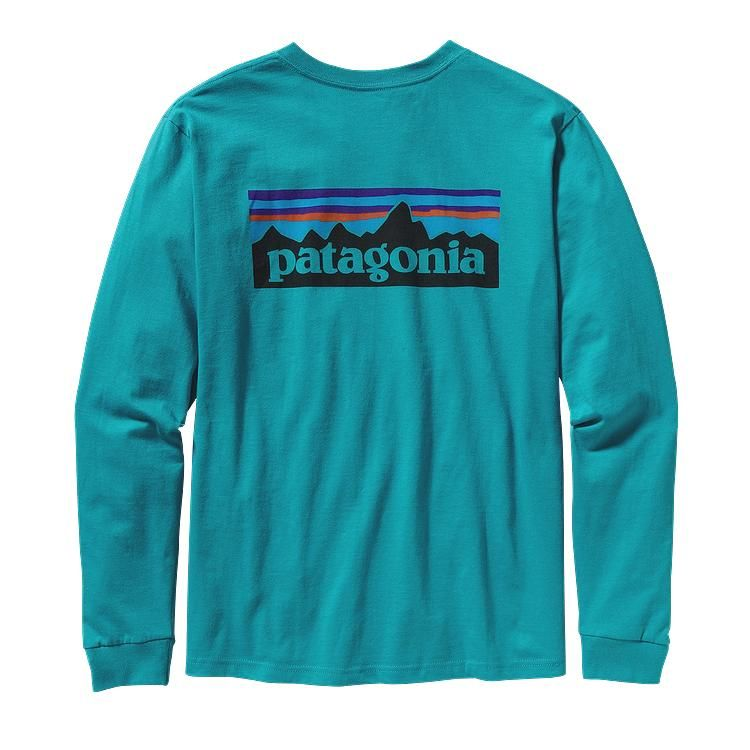 Patagonia Men\'s Long-Sleeved P-6 Logo T-Shirt - Tobago Blue TBGB ...
