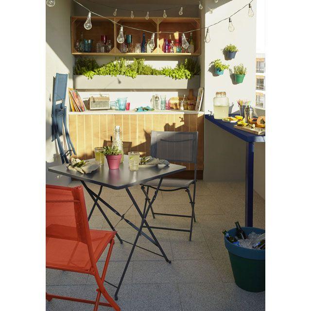 Table de jardin Saba anthracite pliante 70 x 70 cm ...