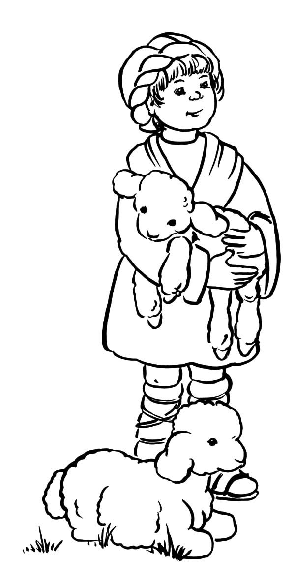 David The Shepherd Boy Hold His Sheep Coloring Pages