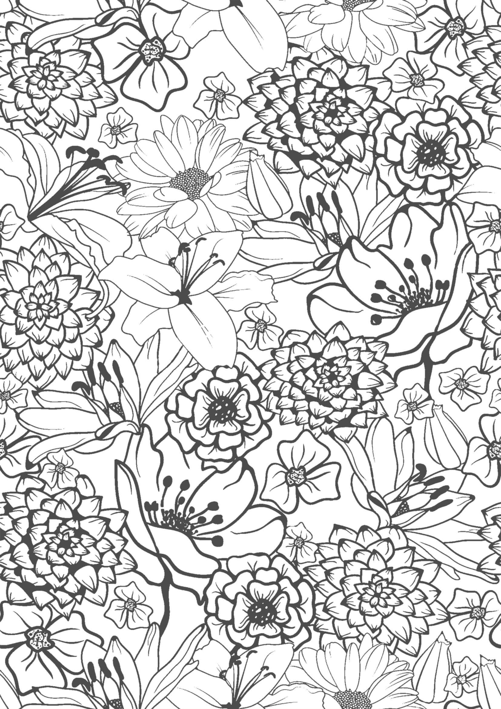 花06 A4無料印刷の大人のぬりえ 塗り絵 無料 花 ぬり絵 塗り絵