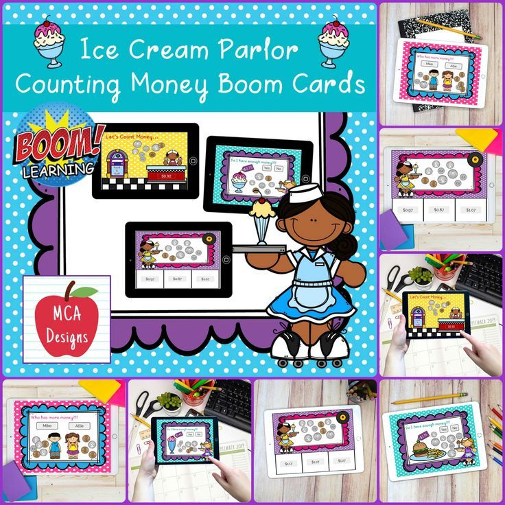 Ice cream parlor counting money boom cards in 2020 cards