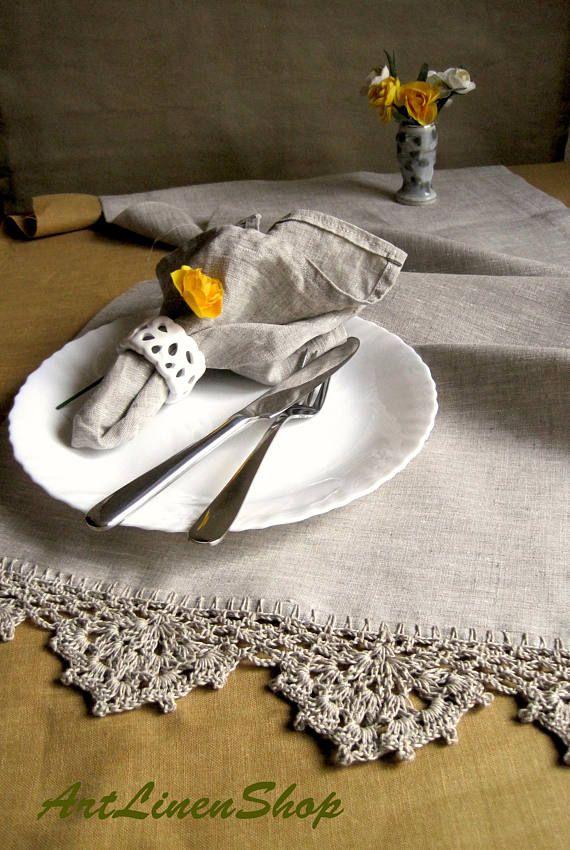 Gray Linen Runner Lace Table Runner Flax Tablecloth Linen