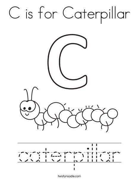C Is For Caterpillar Coloring Page Twisty Noodle Insect Coloring Pages Coloring Pages Letter C Activities