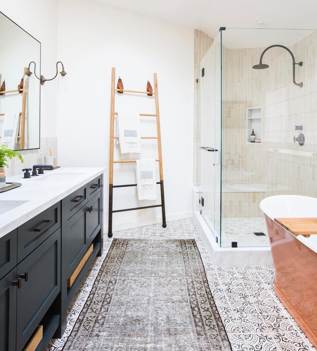 Amberinteriors on instagram from mid century to funky for Mid century modern master bathroom
