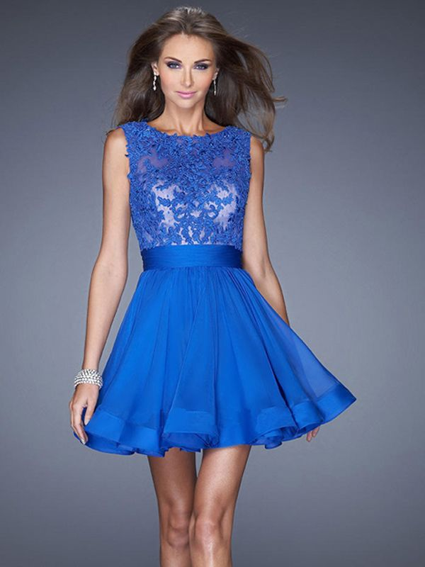 A-line Sweetheart Sleeveless Chiffon Prom Dresses With Appliques #BK229