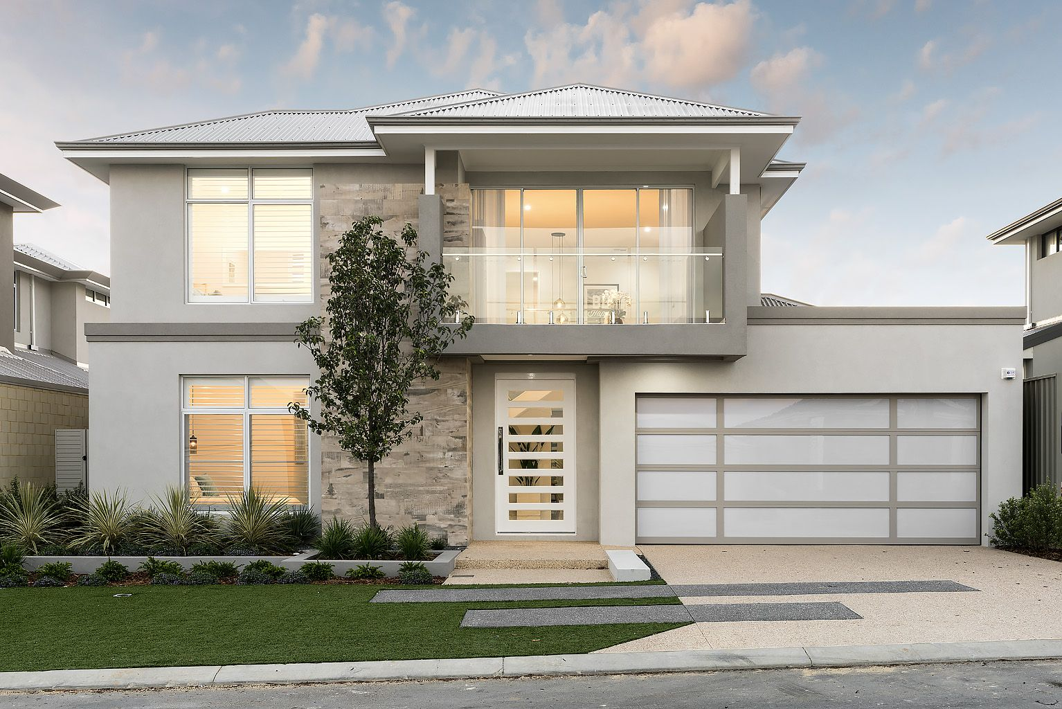 the barossa ben trager homes perth display home modern facade elevation - Modern Display Homes