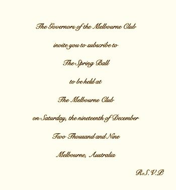 Society Benefit ball invitation Etiquette Pinterest Charity
