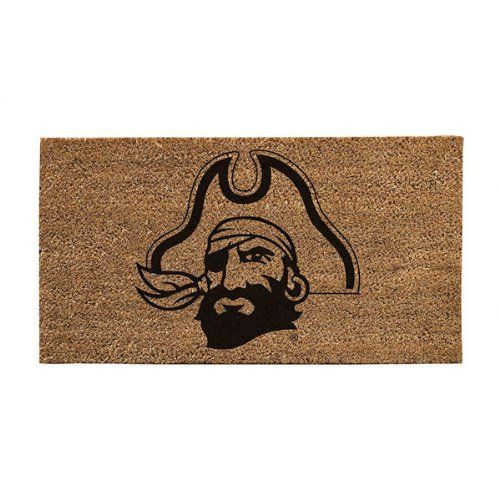 """East Carolina University Coir Mat by Fans With Pride. $35.99. Suitable for indoor or outdoor use. Sized to fit inside our Rubber Mat Frame. 28""""W x 16""""H. A perfect gift for a true fan. Logo is applied with soft, black flocking. Every time you walk in your front door, let your Pirates pride sour. Our coir mats provide the perfect decorative accent for your front door, combined with the excellent ability to trap dust and dirt before it gets inside. Perfect for footb..."""