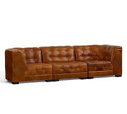 Ken Fulk Quilted Leather 3-Piece Sofa Sectional, Caramel