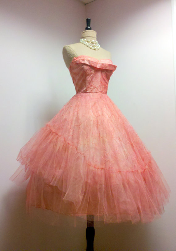 Vintage 50s Prom Dress Gown Ballerina Chic, S | 50s prom dresses ...