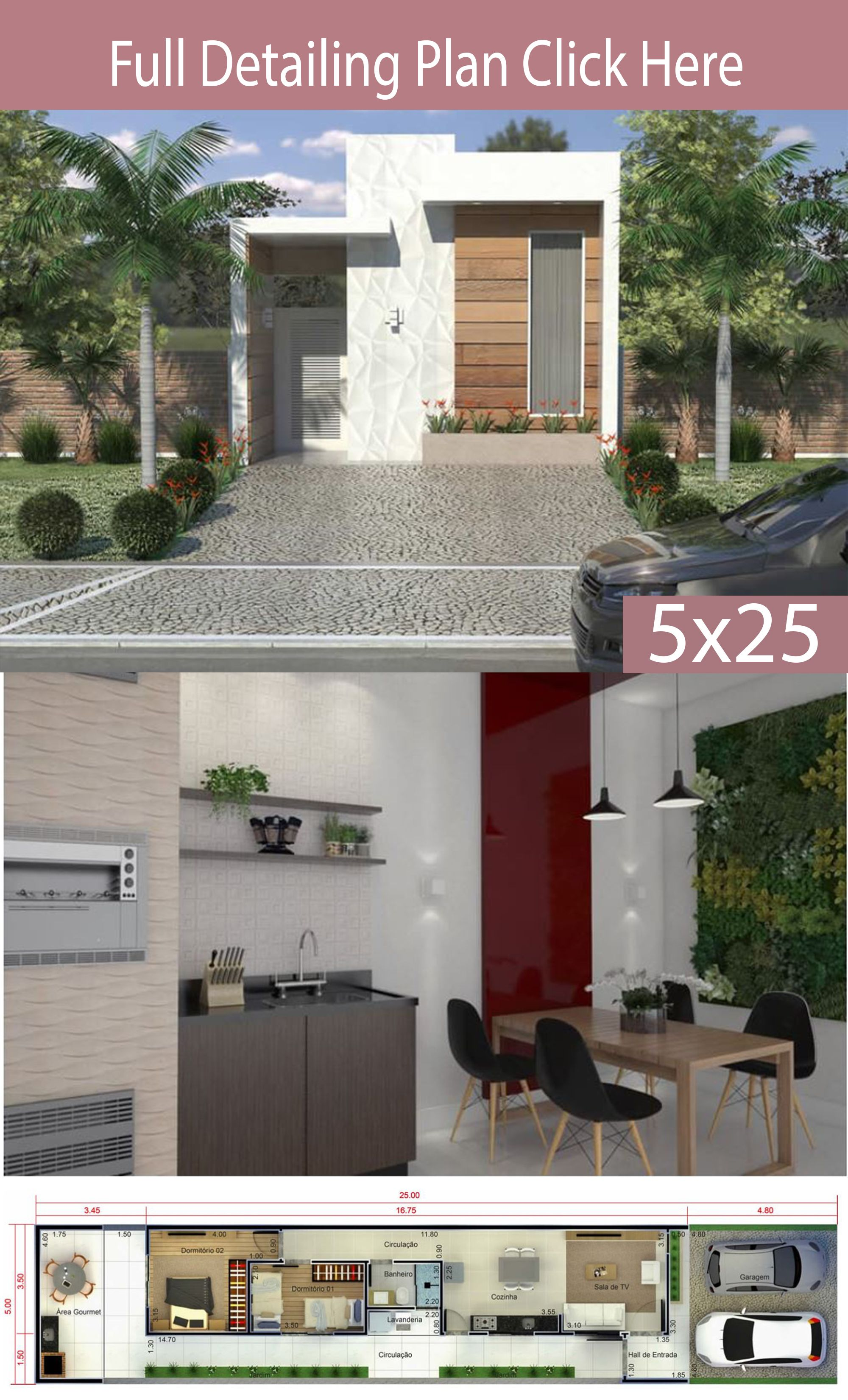 Home Design 5x25 Meters House Plans 3d In 2020 Beautiful House Plans House Design House Design Trends
