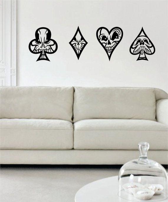 Skulls Playing Card Suits Art Decal Sticker Wall Vinyl Vinyl Wall Vinyl Wall Art Decals Custom Word Art