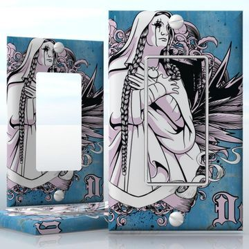 Diy do it yourself home decor easy to apply wall plate wraps do it yourself home decor diy dystopia zombie nun without an eye 1 gang decora lightswitch decal skin wrap sticker skulls horror solutioingenieria Choice Image