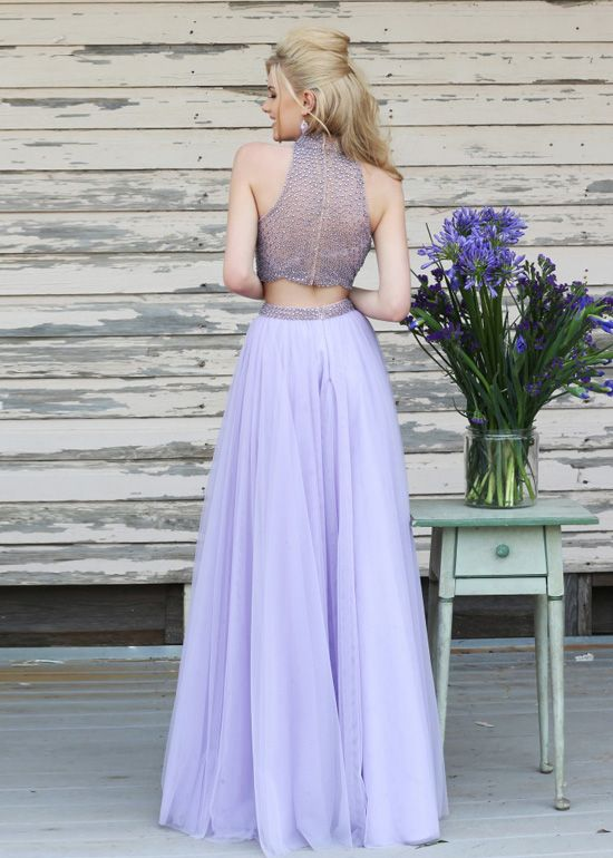 Two Piece High Halter Neck Beaded Flowing Lilac Prom Dress [Sherri Hill  11220 Lilac]