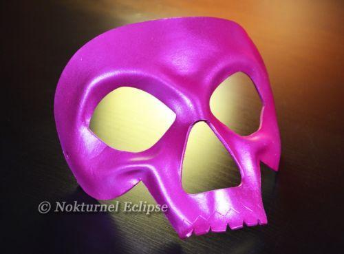 Pink Skull Leather Mask Masquerade Halloween Horror Cosplay Dia De Los Muertos