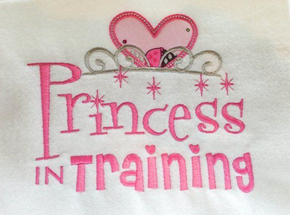 Instant download princess in training with applique heart crown