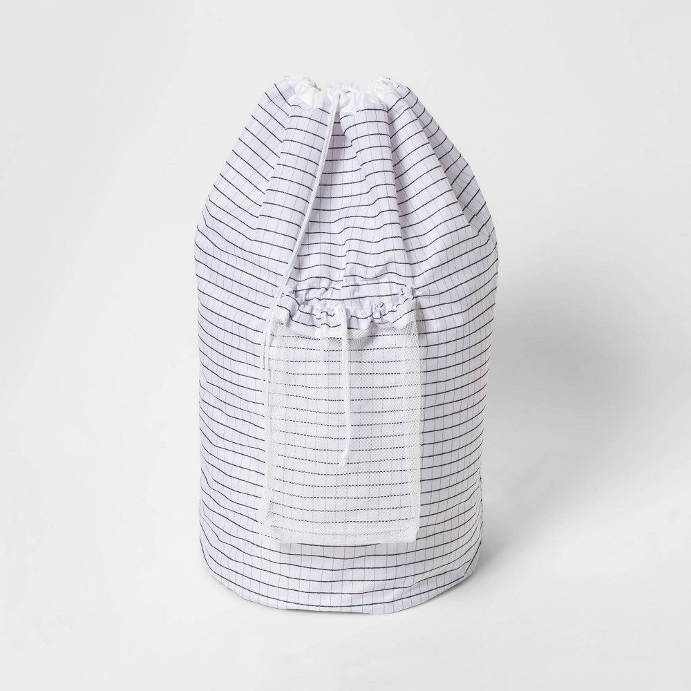Backpack Laundry Bag Grid Pattern White Room Essentials