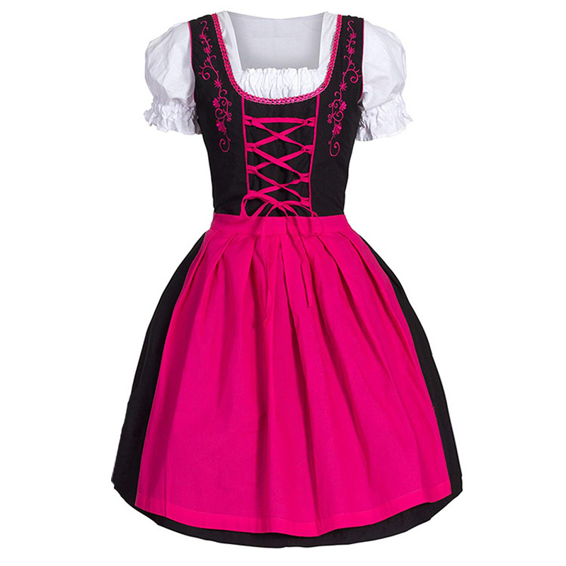 Women/'s Oktoberfest Costume Bavarian Beer Girl Cosplay Drindl Tavern Maid Dress