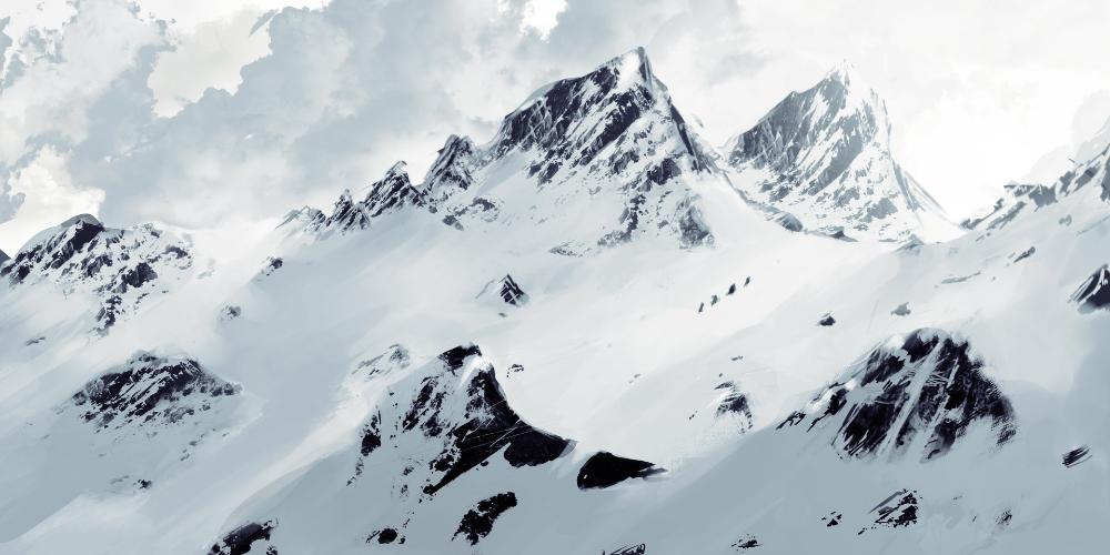 Artstation Snowy Mountains Sketch Mountain Sketch Snowy Mountains Snowy