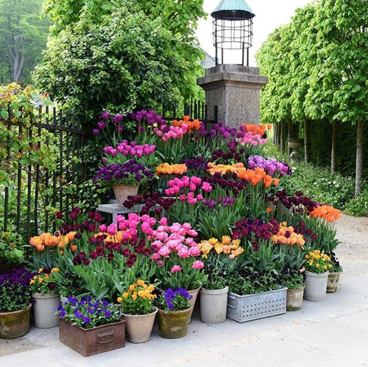 Spring Flowers And Yard Landscaping Ideas 20 Tulip Bed: Small Flower Pots, Backyard Landscaping