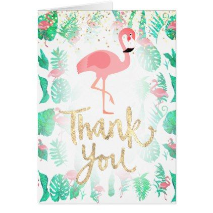 Hand Lettered Thank You And Tropical Flamingo Art Card Summer Gifts Season Diy Template Ideas Hand Lettering Card Art Flamingo Art