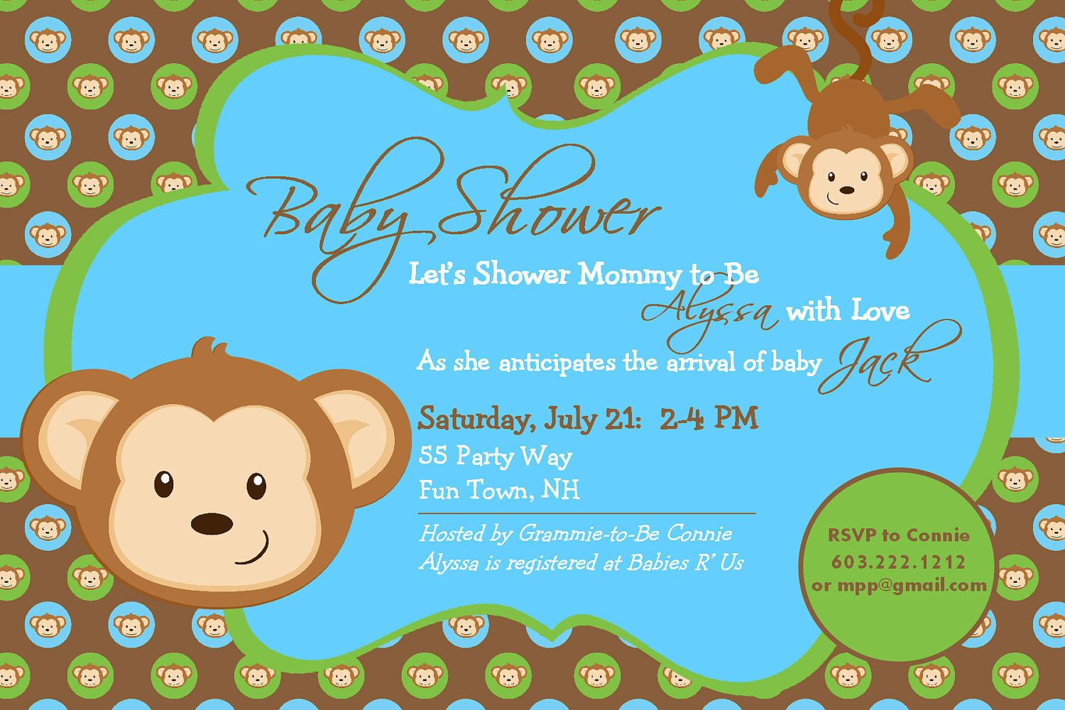 Nice Free Template Baby Shower Monkey Invitations Bagvania