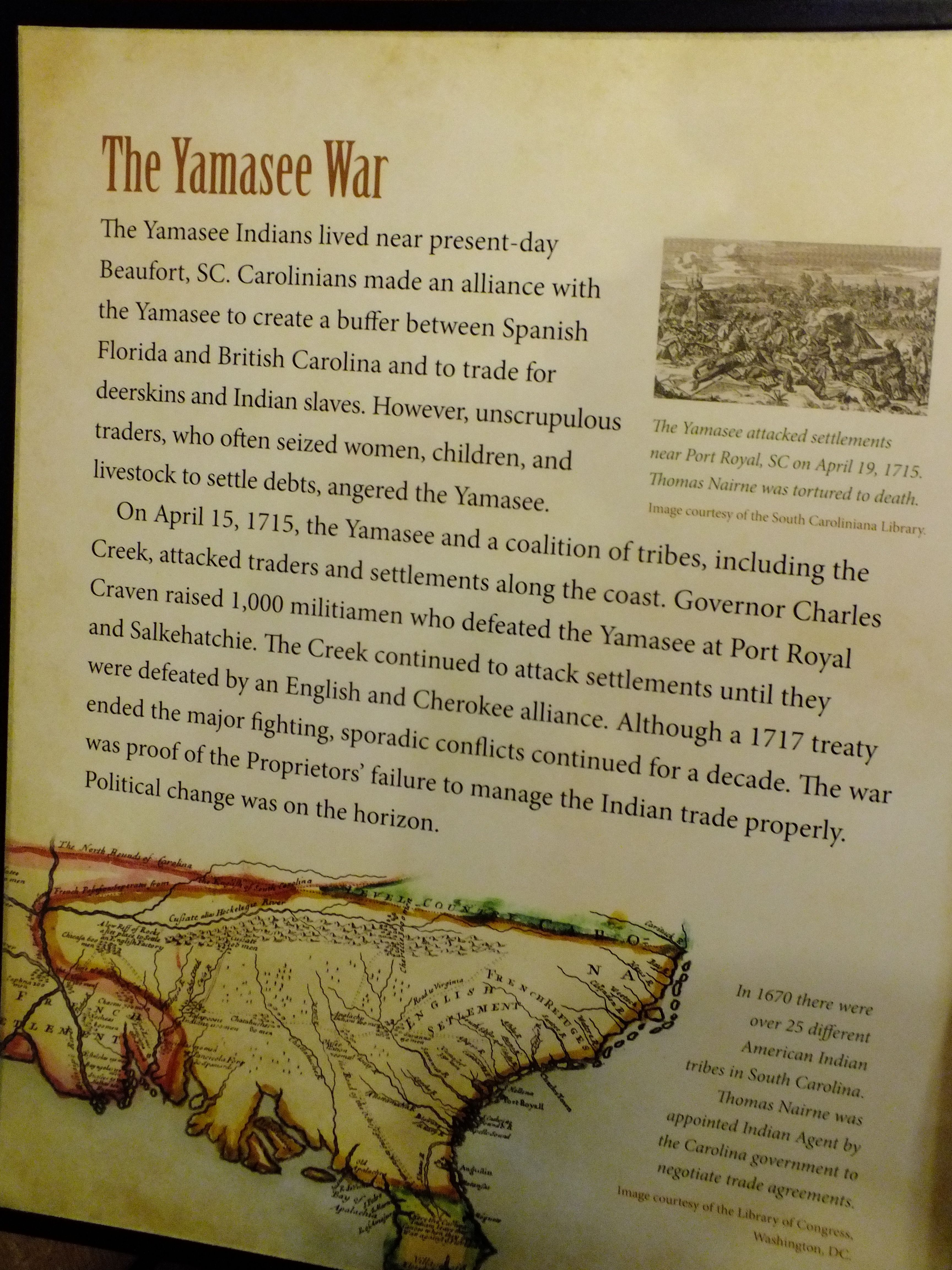 Information about the Yamasee War on display