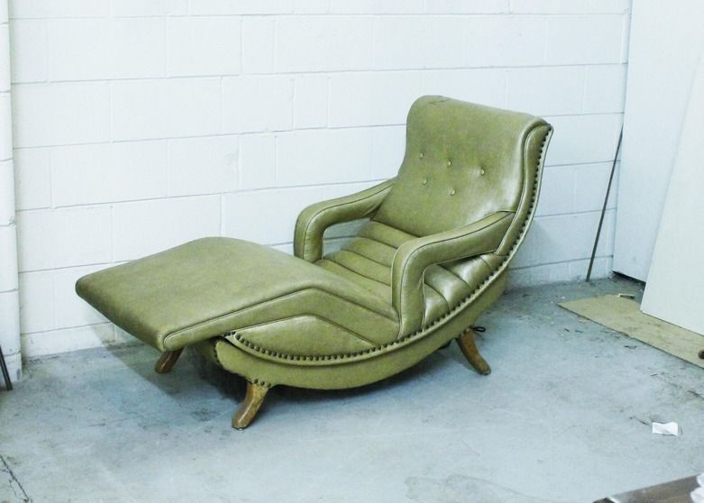 Nice A Mid Century Vibrating Contour Lounge Chair With Green Vinyl And Hammered  Brass Nail Head Accents. Chair Features Wooden Handle To Move Chair Back  Into ...