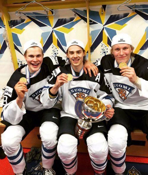 """theyearsbehind: """" Jesse Puljujärvi, Sebastian Aho & Patrik Laine - World Junior Champs 2016 """""""