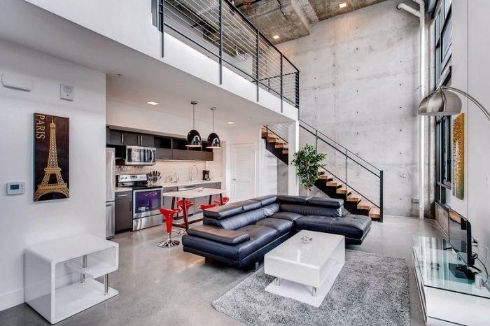 meuble style industriel pour salon, modèle de tapis ...