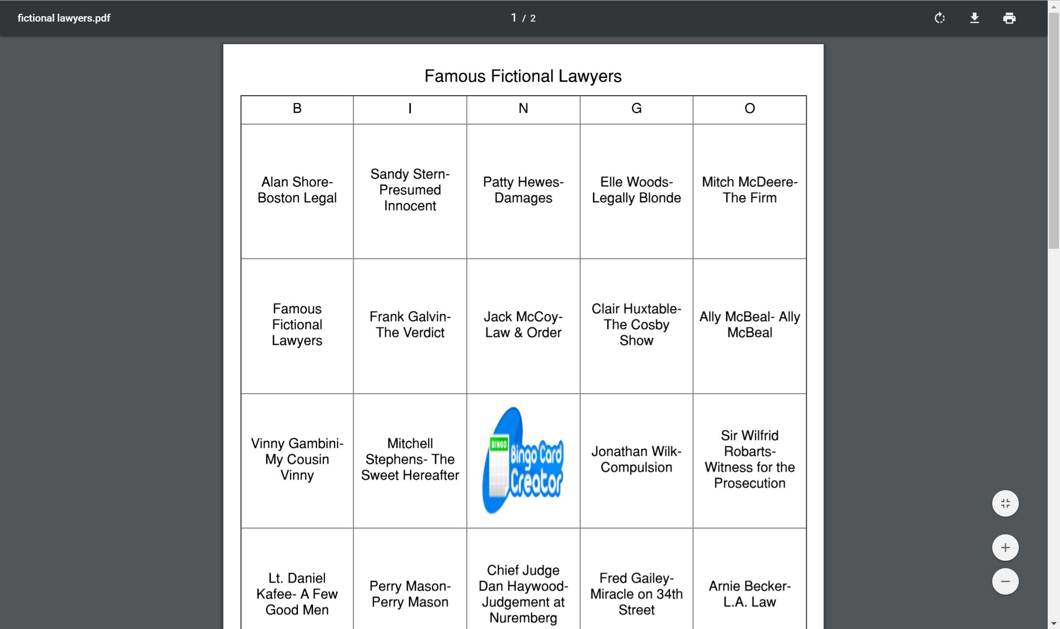 Famous Fictional Lawyers bingo Bingo, Bingo card creator