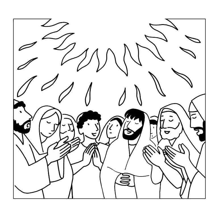 Descent Of The Holy Spirit Coloring Page Ideas For Church Class