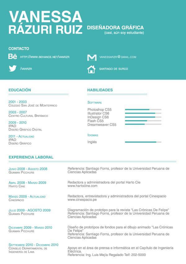 Resume by Vanessa Rázuri Ruiz, via Behance CVs, resumes, forms - informatica sample resumes