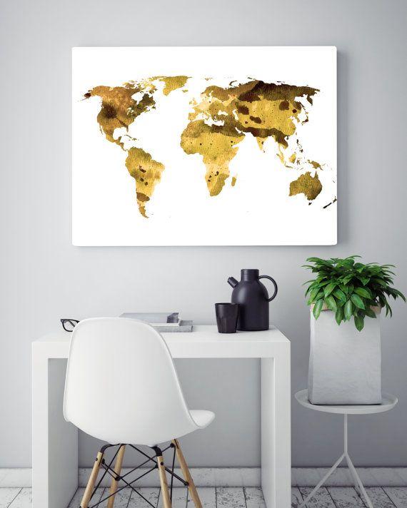 Gold World Map Wall Art.Gold World Map Print Watercolor Map World Map Painting Travel